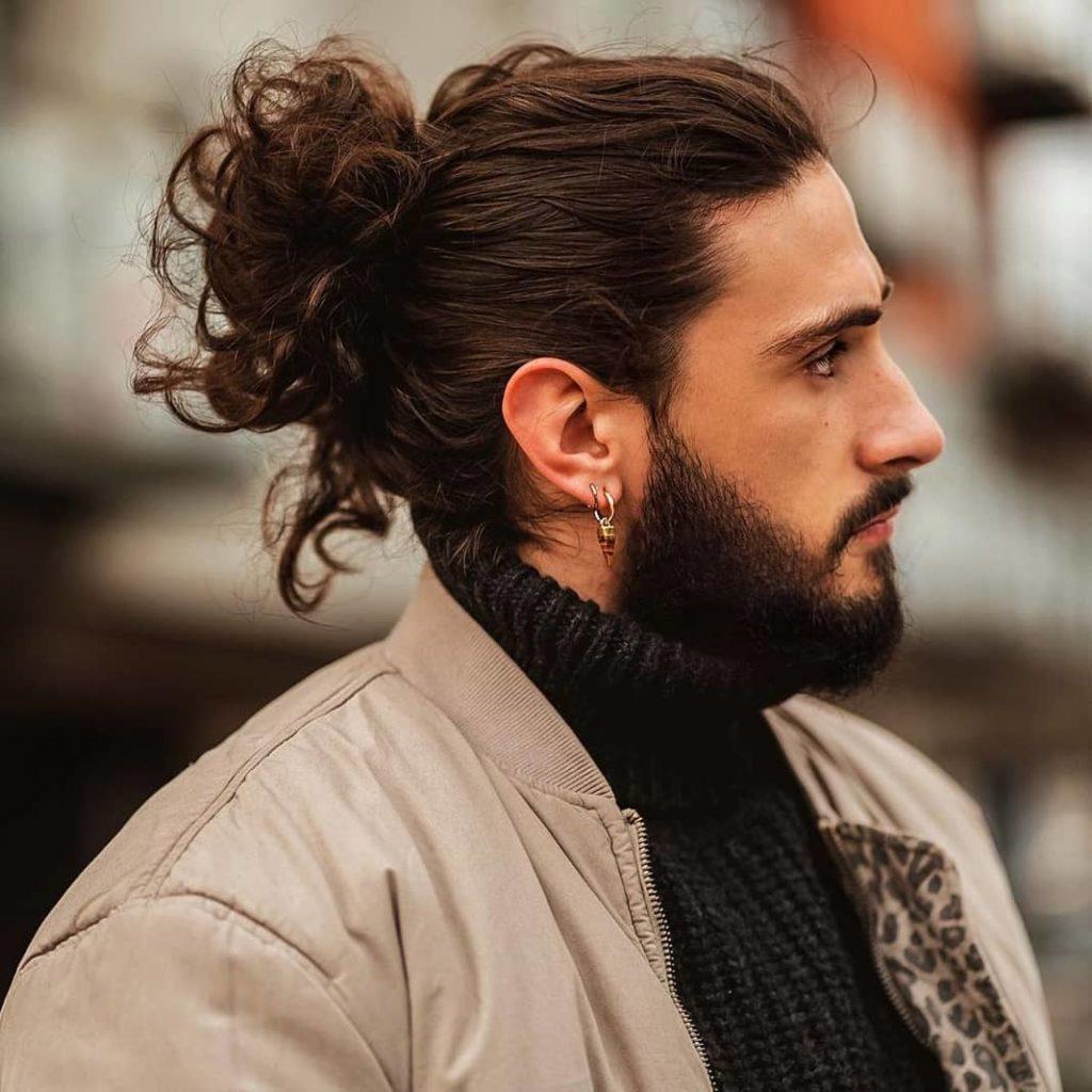 medium long hairstyles for men with men bun