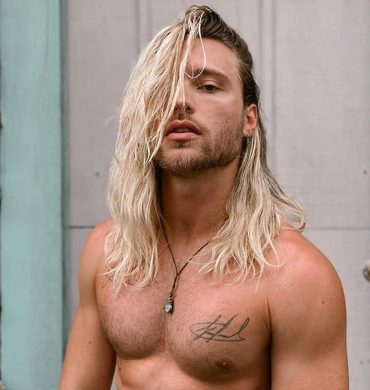 super blonde medium long hairstyles for men