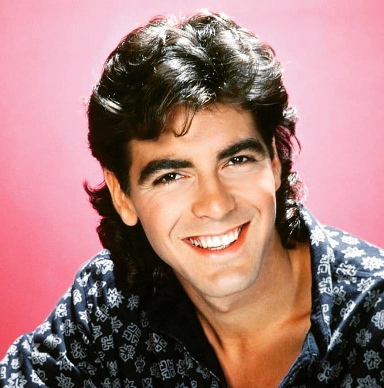 George Clooney's shoulder length hair mullet