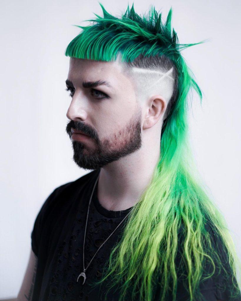 shoulder length hair green mullet