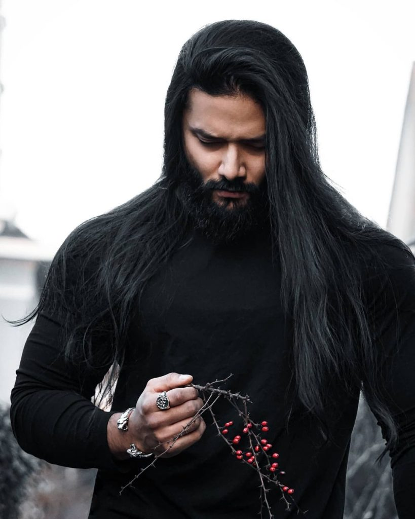 Deep Black Long Hairstyle For Men