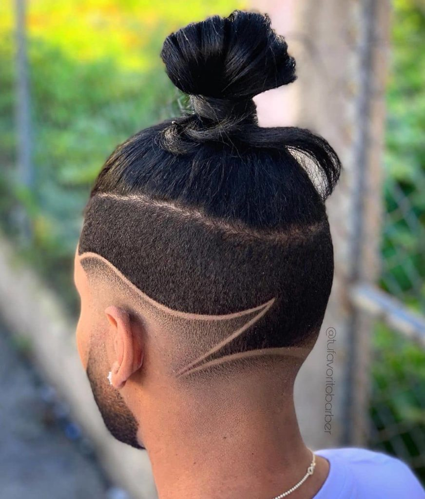 medium long hairstyles for men with razor design