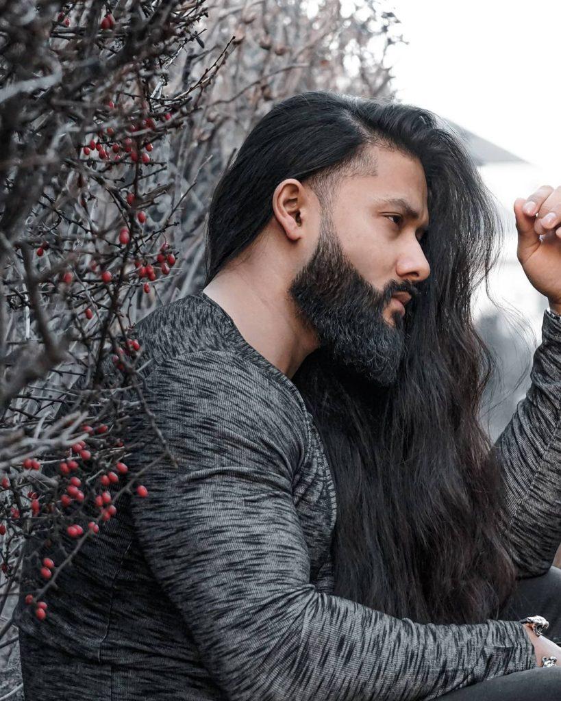Long Wavy Black Hair With Undercut & Beard