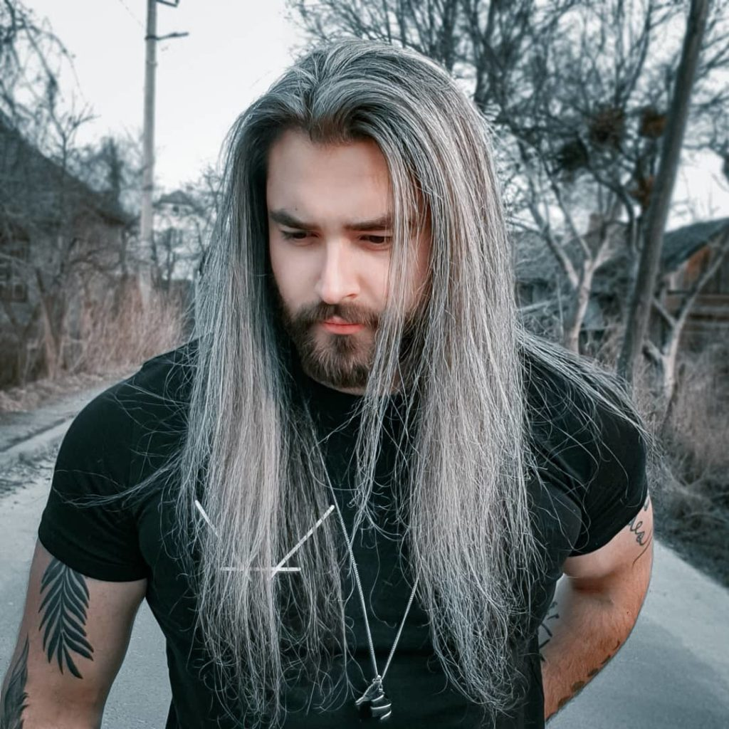 Middle Parted Gray Long Hairstyle