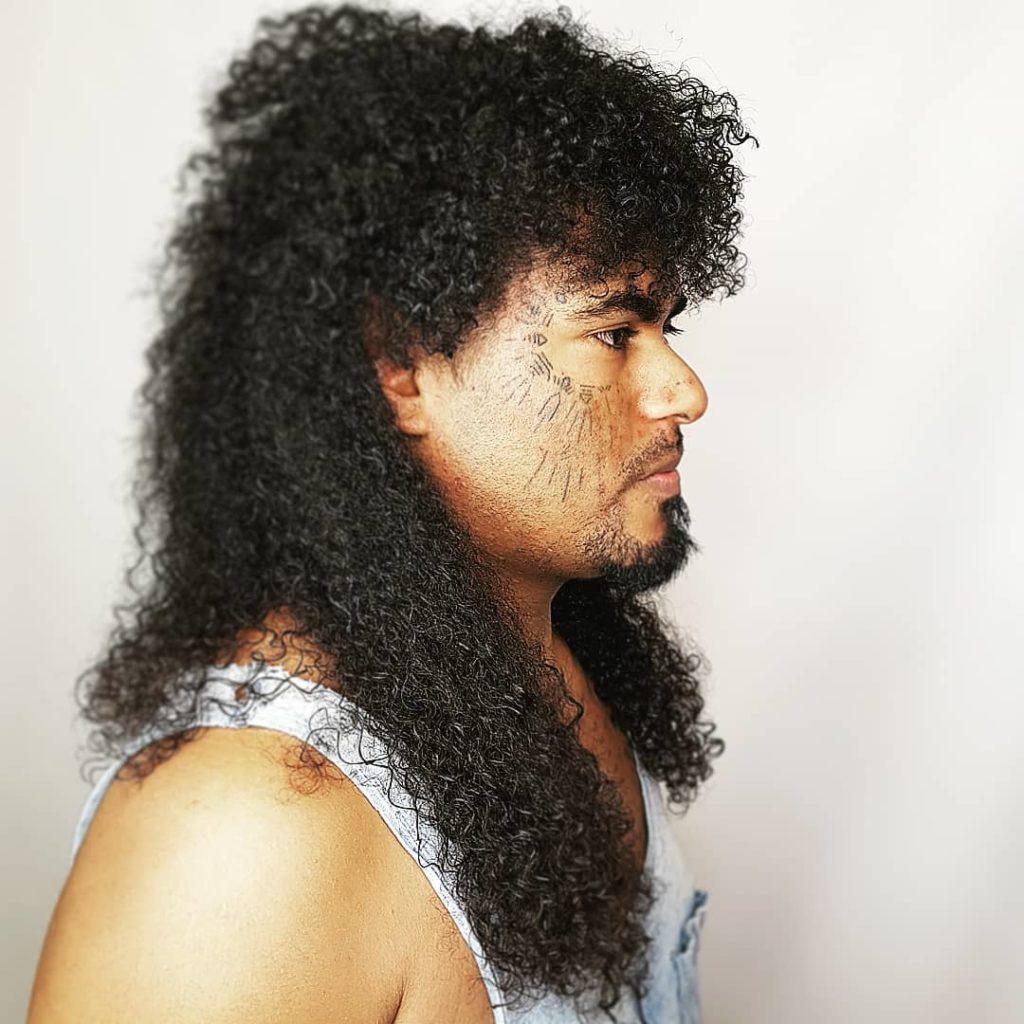 afro shoulder length hair mullet