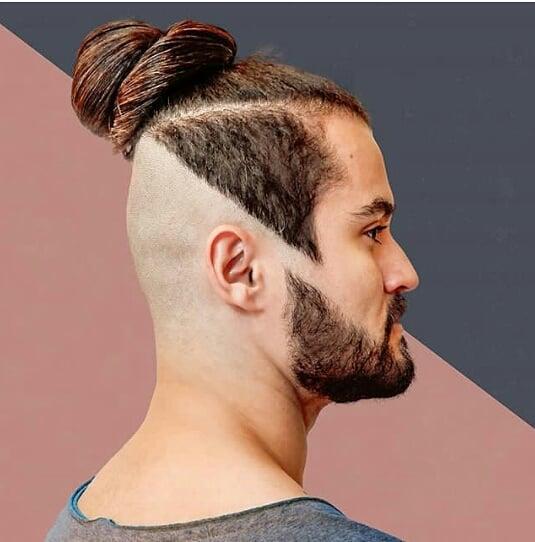 geometrical medium long hairstyles for men