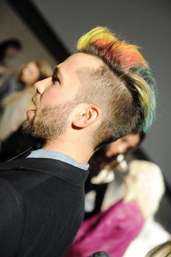 punk-hairstyles-for-guys - rainbow faux hawk