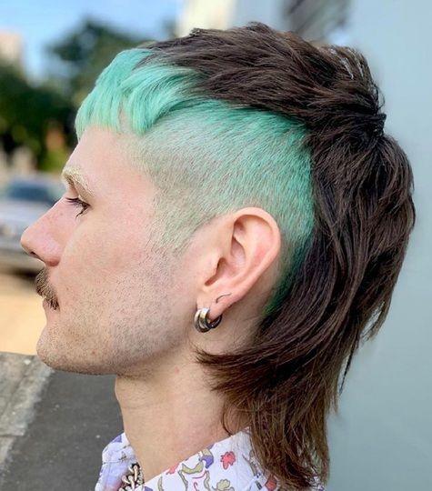 shoulder length hair with blue fringes